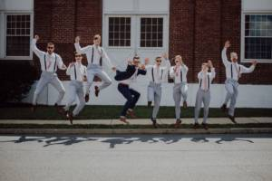 groom and groomsmen in wedding party